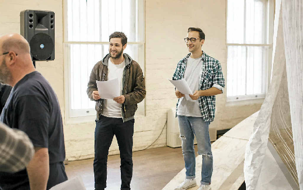 RISING STAR: Former Chronicle journalist Matthew Backer (right) is in the final stages of rehearsals for 'The Tempest', on at the Sydney Opera House from August 19.