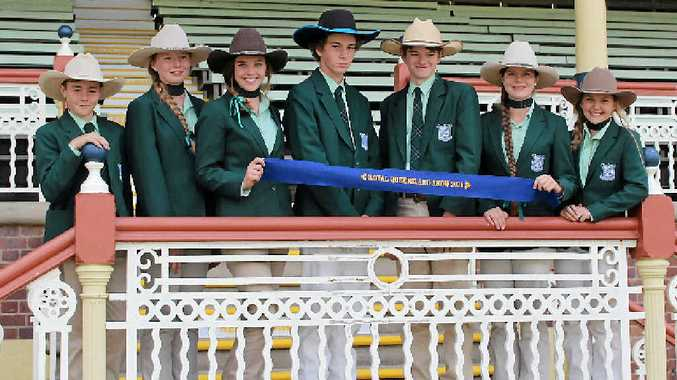 FLYING BLUE: Monto State High School cattle club students won the school team judging from 40 schools at the Ekka. From left: Darcy Mortimer, Megan Birch, Nanci Wilson, Luke Aisthorpe, Brock Dahtler, Amy Birch and Maddison Low.