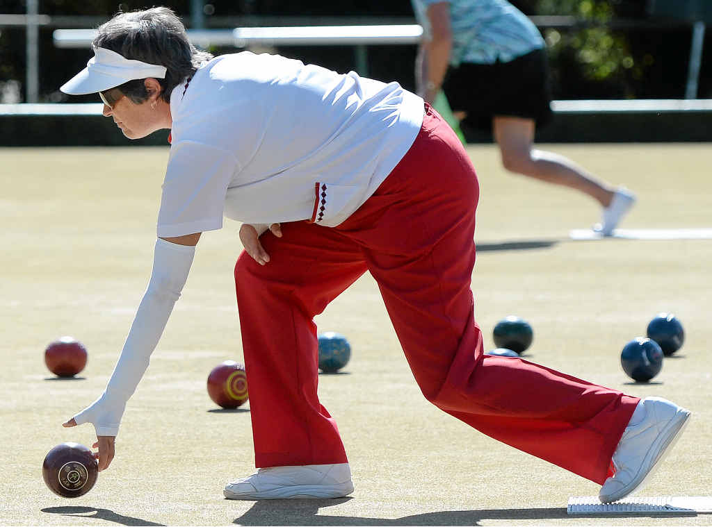 PICTURE OF CONCENTRATION: Alstonville bowler Judy Reinhardt at the recent Lismore City Winter Triples.