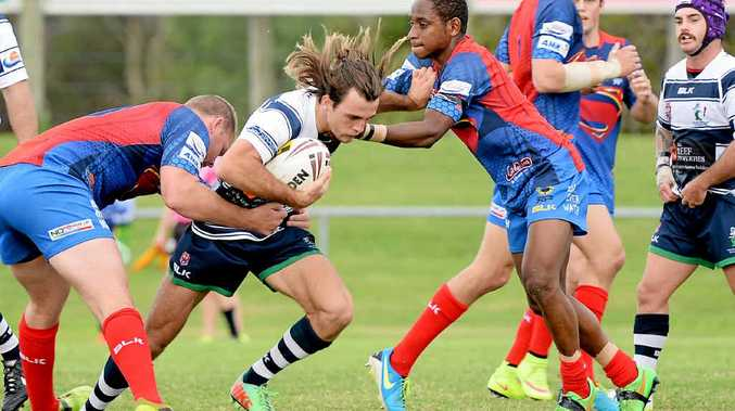 ON THE CHARGE: Brothers' Aiden Daniel takes a run against Souths Sharks during the year.