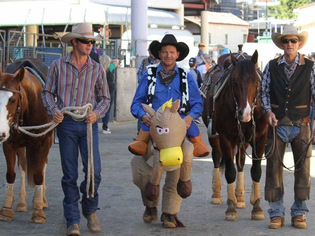 MERRY MEN: Warwick's Mick Aspinall, Rosewood's Brett Townsend and Taroom's Frank Green are the Heeler Comedy Team and have been impressing the Ekka crowds with their shows.