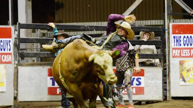 Guy Ford in the Open Bull Ride at the Great Western Hotel Near Year Teams Bull Riding Challenge. Photo: Chris Ison / The Morning Bulletin