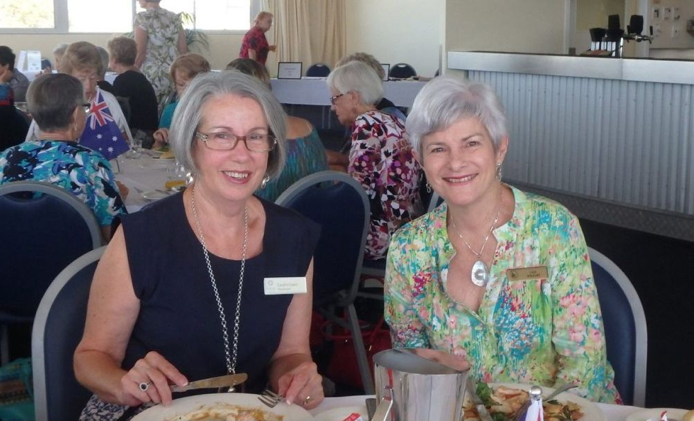 Members Carylin and Jan enjoy their delicious lunch at a recent meeting.