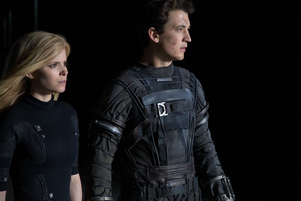 Kate Mara and Miles Teller in a scene from the movie Fantastic Four. Supplied by Fox Australia/Alan Markfield.