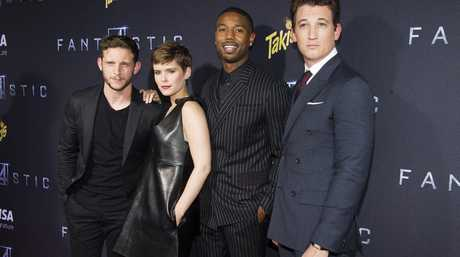 Jamie Bell, from left, Kate Mara, Michael B. Jordan and Miles Teller attend the premiere of
