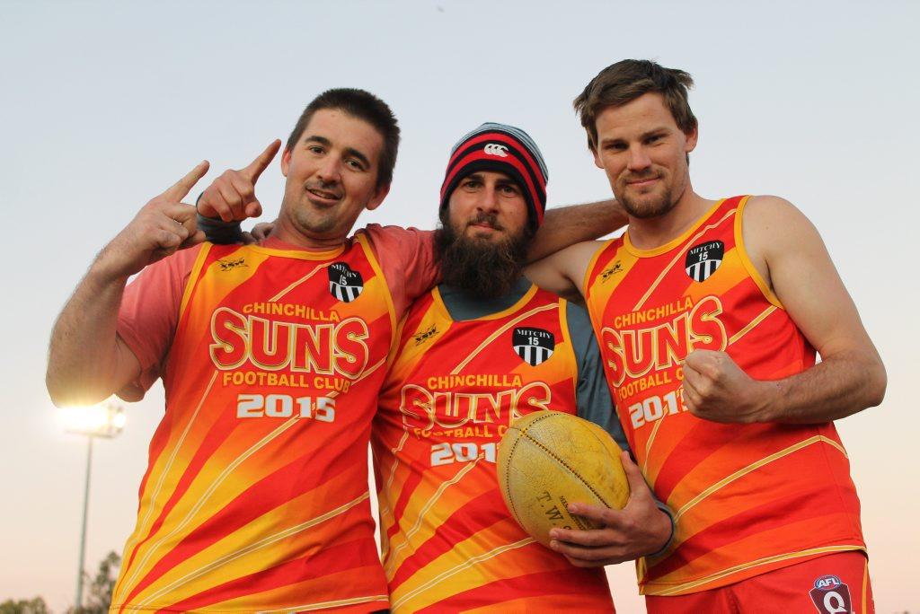 Chinchilla Suns players Ben Hurst, Josh Plant and Nick Budden. Photo Hayden Smith / Chinchilla News