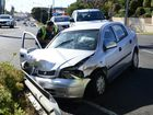 Crash on the corner of Limestone and Waghorn Street on Thursday morning. Photo: Rob Williams / The Queensland Times