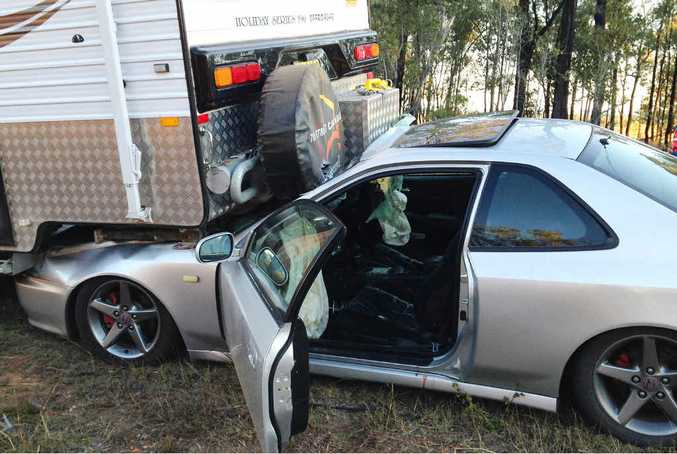 MILLIMETRES IN IT: An Emerald woman and her boyfriend escaped serious injury in this crash on the Capricorn Hwy last month.