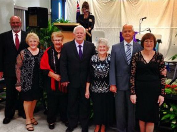 Brian, Raelene, Narelle, Brent, June, Neil and Barbara at last year's fashion show.
