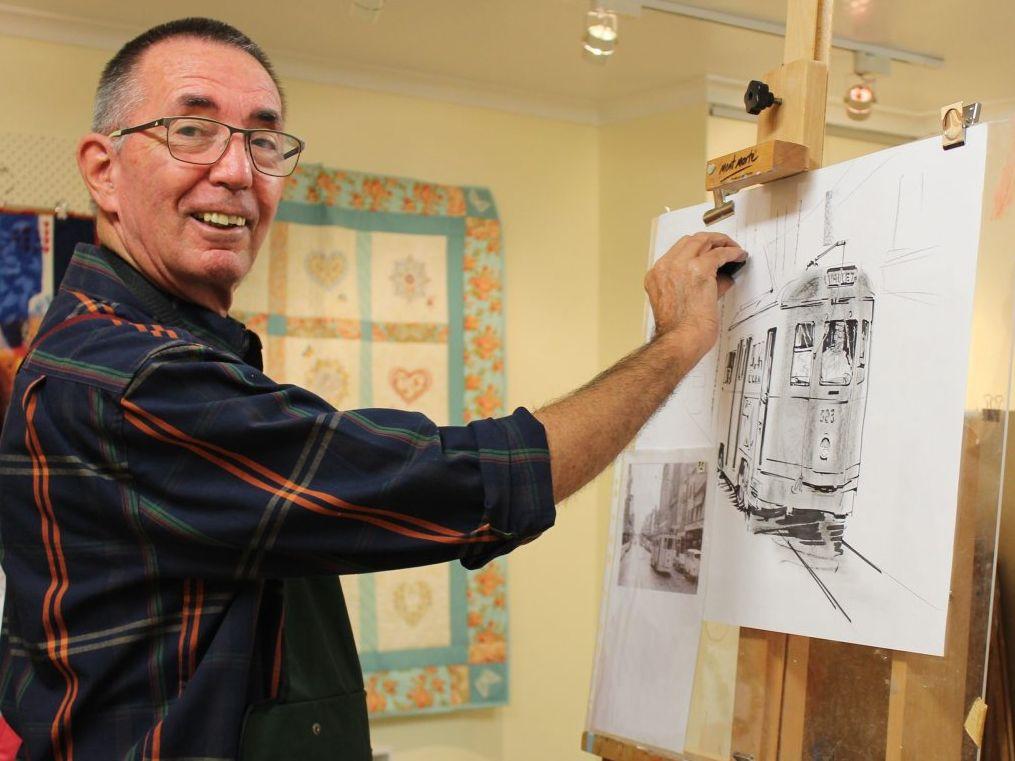 Artist Peter Bashaw at work.