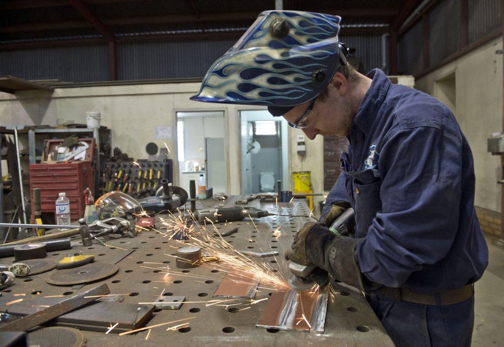 WINING WELDER: Braden Lang from James Fab apprentice boilermaker of the year. Thursday, Aug 13, 2015 . Photo Nev Madsen / The Chronicle