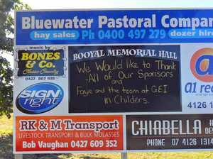 You can't miss Booyal Hall's billboard on the Bruce Hwy
