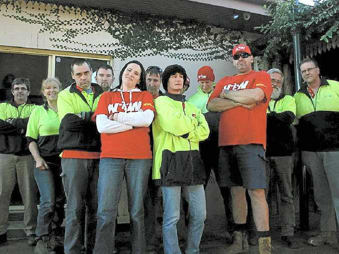 INDUSTRIAL ACTION: Big W staff members ask for a fair deal.