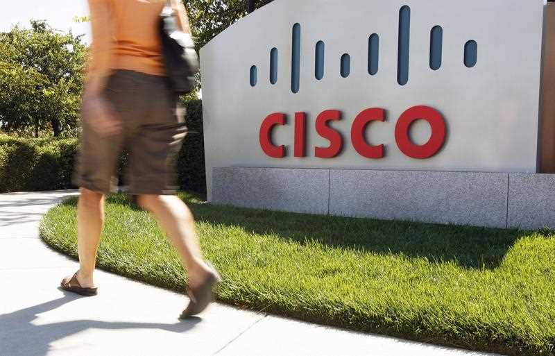 A sign at the Cisco Systems Inc., headquarters in San Jose, California, USA.