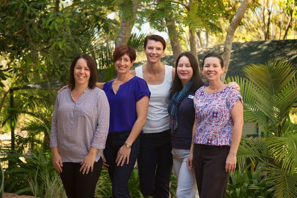 Ready for the Tannum Sands Kingergarten garden party are (from left) Marissa Earl, Melissa de Koning, Mel Rudder, Lorette Stebbings and Kirsty Thomson.
