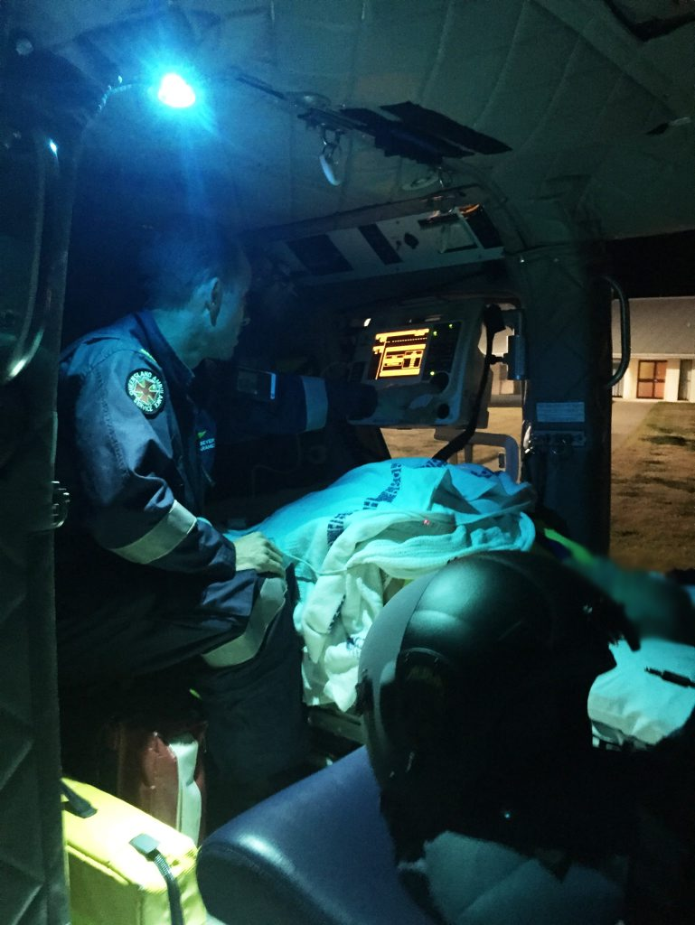 The crew took a teenage boy from Gayndah and a man from Monto to Bundaberg Base Hospital. Photos courtesy RACQ CareFlight Rescue.