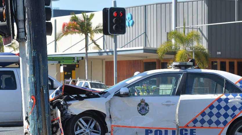 Police car involved in Mackay city crash.