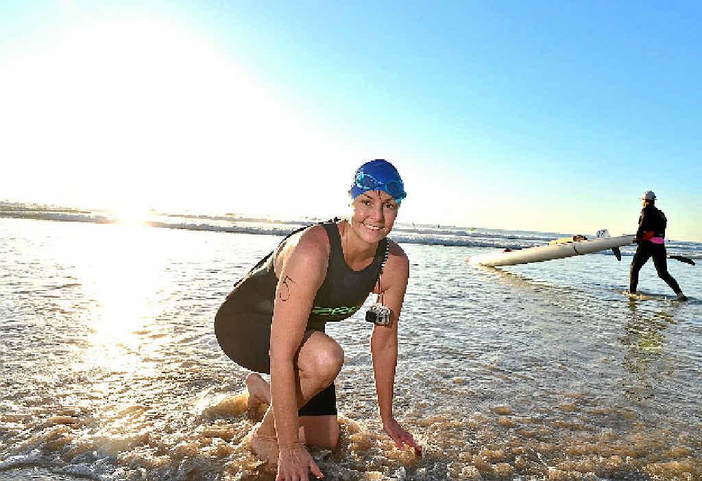 LAPPING IT UP: Andrea Fesselet prepares at the charity island swim at Mudjimba.