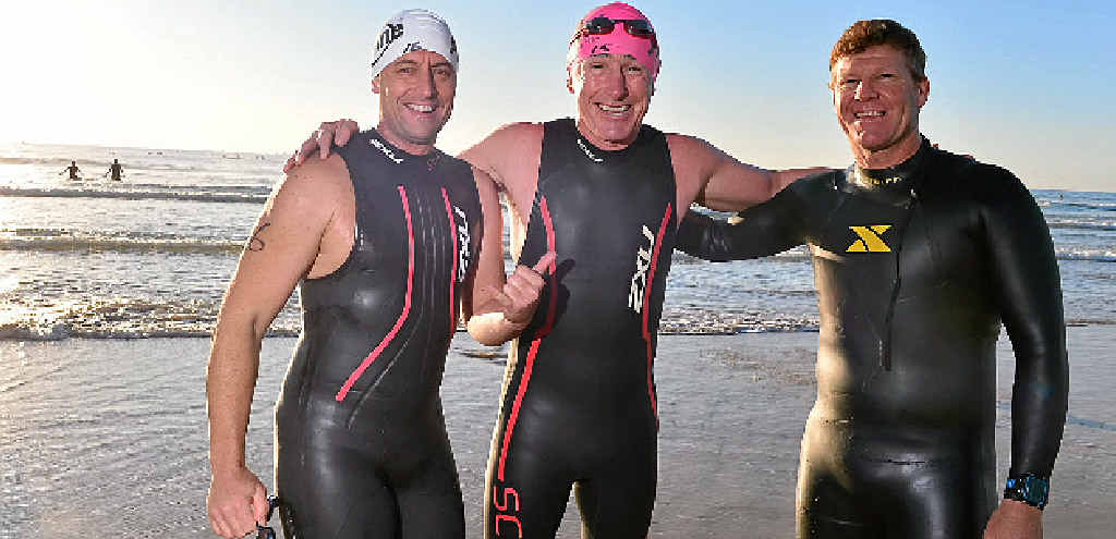 CHARITABLE souls Brendan Neil, Ross McNally and Greg Steele have taken to the waters off Mudjimba Beach for this year's Island Charity Swim. Their fundraising efforts for two Special Schools on the Coast will go even further than their 11km slog to Mooloolaba. SEE STORY PAGE 5