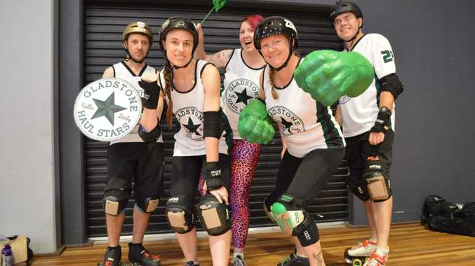 Some of Gladstone Roller Derby's super Haul Stars (from left) 'Cut-throat King' Kingsley Caldwell, 'Slayer Swift' Lauren Fournier, 'Candy Contusions' Emma Johnstone, 'Zerky' Kristel Moseling and 'Target' Cameron Barrett.