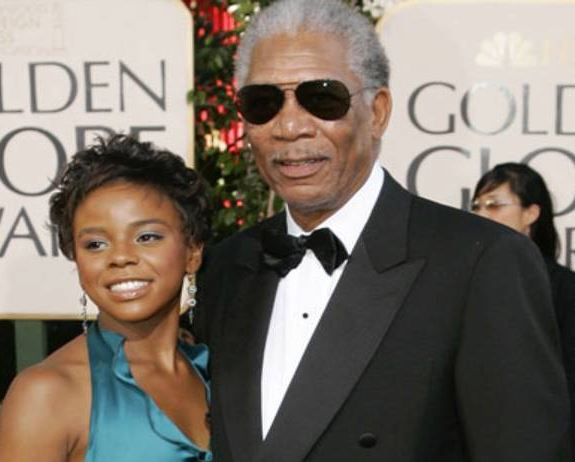 Morgan Freeman pictured earlier with E'Dena Hines, who was stabbed to death outside her New York City home.
