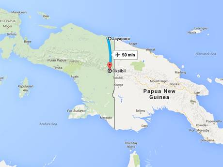 Map showing the route of the flight from Jayapura to Oksibil in Indonesia's Papua region