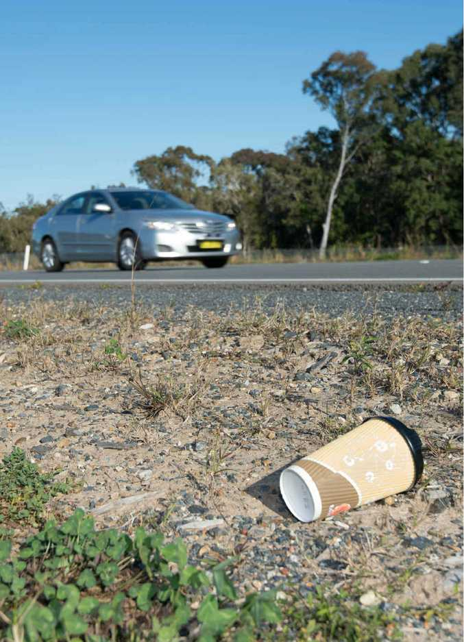 DON'T BE A TOSSER: A build-up of rubbish is lining the Pacific Hwy upgrade between Emerald and Sapphire beaches.