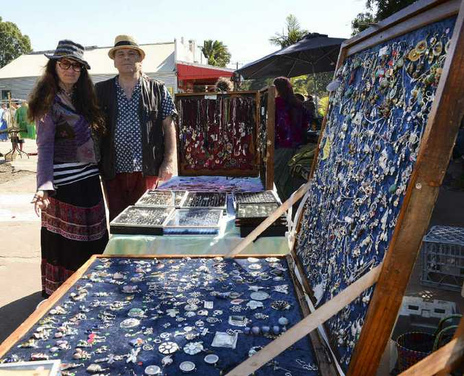 LIVELIHOOD: Anita Dellyoo, Nimbin street vendor, and developer David Piesse are concerned about plans to crack down on the village's illegal street stalls.