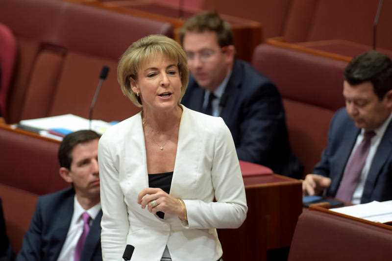 Federal Assistant Minister for Immigration Senator Michaelia Cash speaks during Question Time in the Senate chamber at Parliament House in Canberra, Monday, Aug. 10, 2015.