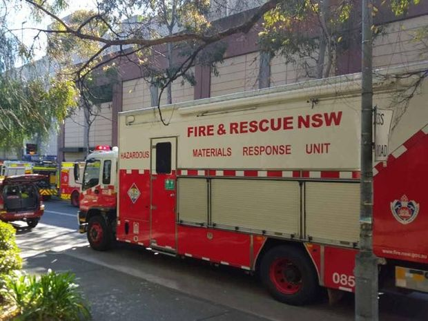 A hazmat unit arrives at NSW Liberal MP Craig Laundy's office, after a letter containing glitter arrived in the mail.