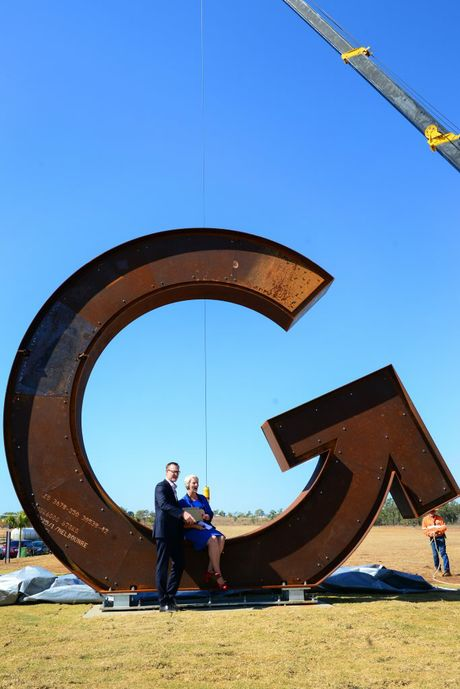 Matthew Gibb, managing director of Gibb Group and Rockhampton Regional Council mayor Margaret Strelow at the unveiling of the Big G - the iconic signage for the Gracemere Industry Park. Photo Sharyn O'Neill