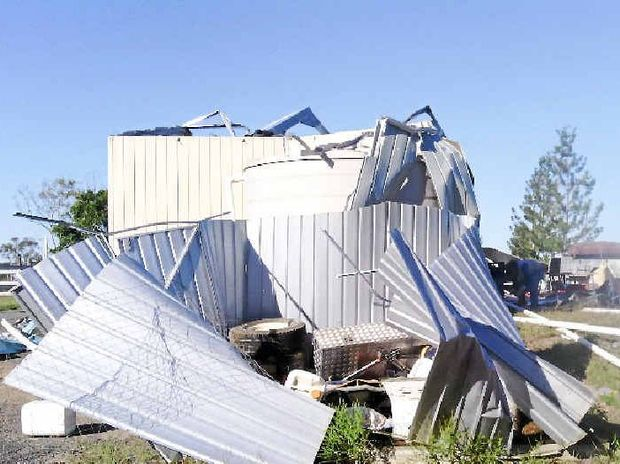 WINTER STORM: This was once a 15mx12m shed on Dion Williams' Dallarnil property. It was destroyed in a storm last Wednesday night.