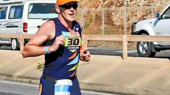 IN STRIDE: Ryan McLoughlin competing in the Yeppoon Triathlon at the start of August.