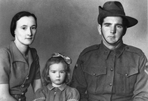 Yeppoon's Florence Atkinson, husband Noel and daughter Judith in 1943. She celebrated her 100th birthday last week.