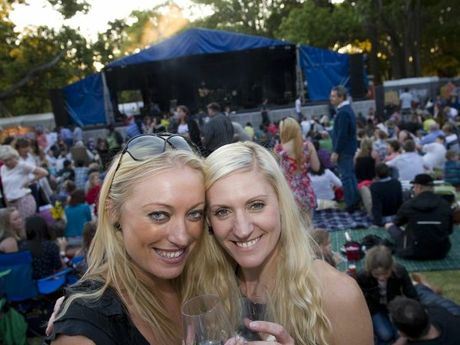Fiona Nay and Sarah Mahaffey-Verlinden at the Ergon Energy Flower, Food and Wine Festival in Queens Park.