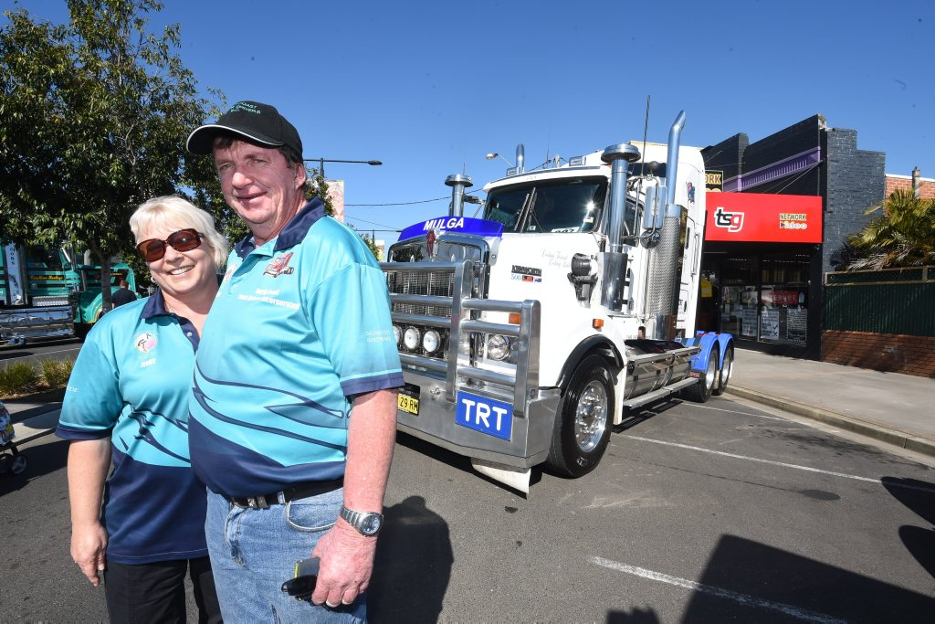 North Coast Truck Drivers Incorporated members Mulga and Jenny Ridley at the Casino Truck Show helping to raise money for the Westpac Helicopter. Photo Marc Stapelberg / The Northern Star