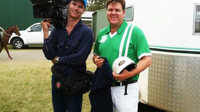 Ian Withnall from Palatine Productions with Warwick Fraser, from the Warwick Polocrosse Club, during filming for the feature film