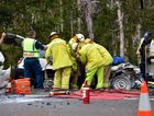 Motor vehicle accident at Southern approach to Peregian Springs roundabout as emergency services work to free an entrapped driver. Photo Geoff Potter / Noosa News