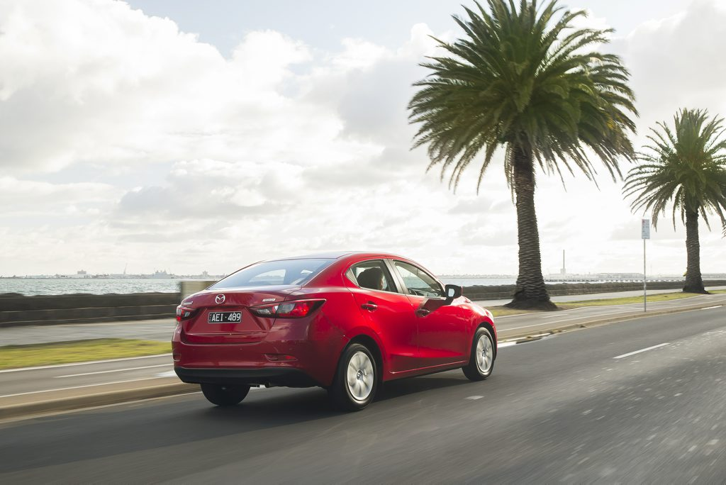 BETTER THAN MOST: Designing a light car sedan is not an easy style task, but the Mazda2 shows its rivals up to a degree.