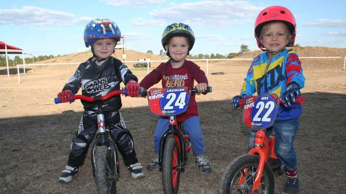FOUR WHEELS: Declan Meikle, 2, Lachlan Burnett, 2, Joel Nielsen, 3 prepare for this weekend's carnival.