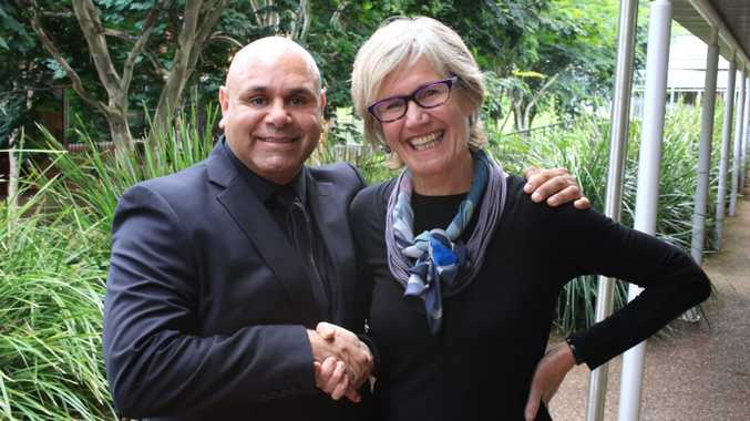 Special guest at the Big Deadly Yarn Ups, Kevin Kropinyeri with North Coast TAFE Institute Director Elizabeth McGregor.