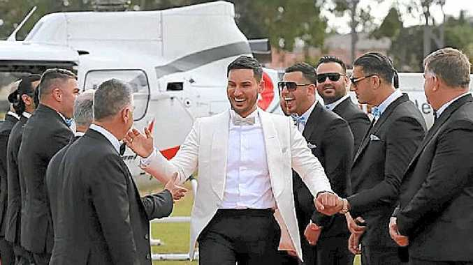 Salim Mehajer arrives by chopper for his wedding day spectacular.