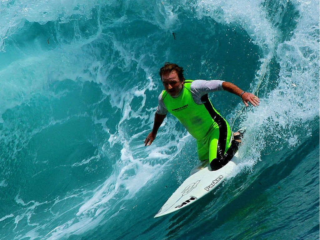 """IN ACTION: Mark """"Mono"""" Stewart, of Byron Bay, will be heading overseas to take on the best in the first ever ISA World Adaptive Surfing Championships."""