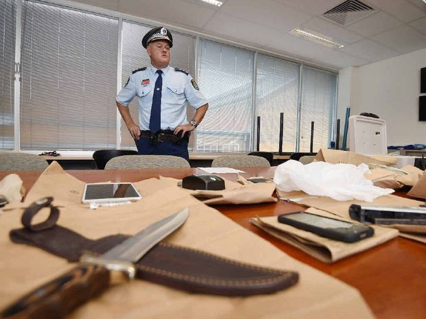 Detective Inspector Cameron Lindsay oversees a huge drug haul from police operations in the Lismore area. Photo Marc Stapelberg / The Northern Star