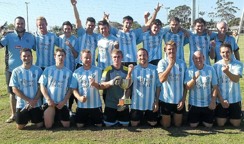 RIGHT: The 2013 Ballina men's first division soccer team after being promoted to the Far North Coast premier league. After two seasons in the top flight, Ballina has been relegated.