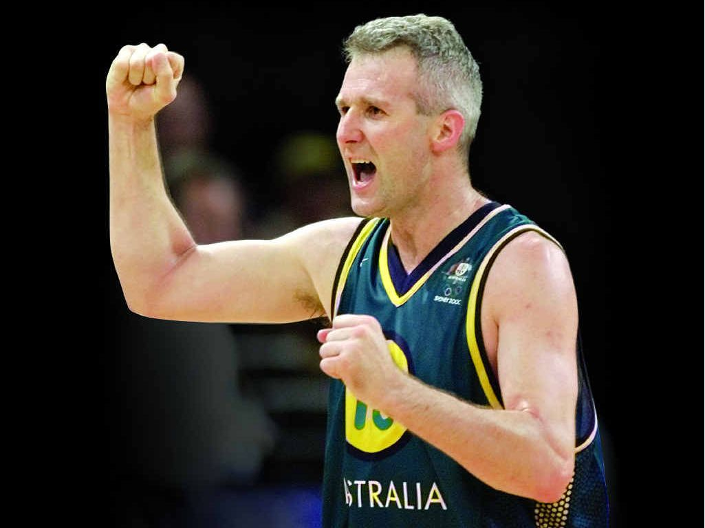GREAT TIMES: Australia's Andrew Gaze celebrates Australia's 65-62 victory over Italy in a quarter-final at the 2000 Olympic Games in Sydney.