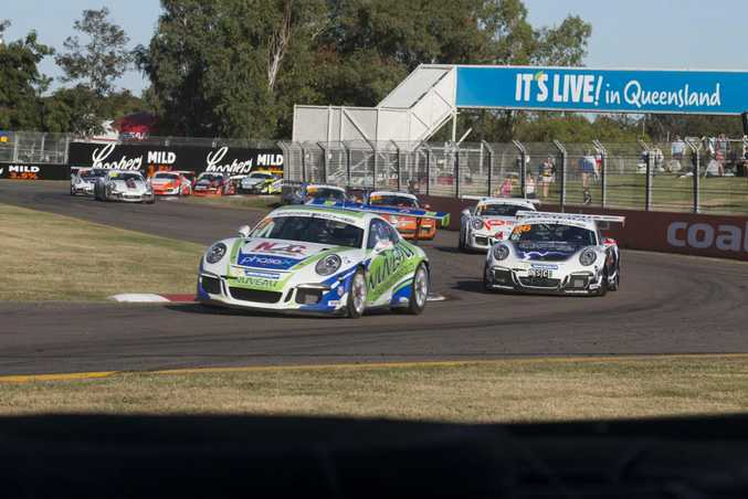 Matt Campbell (leading the group) in the Townsville 400, Round 04 of the 2015 Porsche Carrera Cup at the Reid Park Circuit, Townsville.