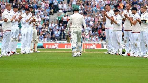 Australian captain Michael Clarke given guard of honour as walks out.