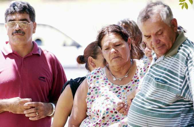 Relatives of Theresa Binge and community members outside Boggabilla Police Station in 2003.