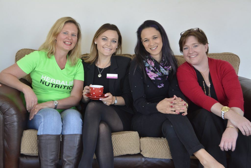 Mums who work from home are (from left) Alisha Byrne, Nicole Murray, Dannii Cooper and Rebecca Johnson.